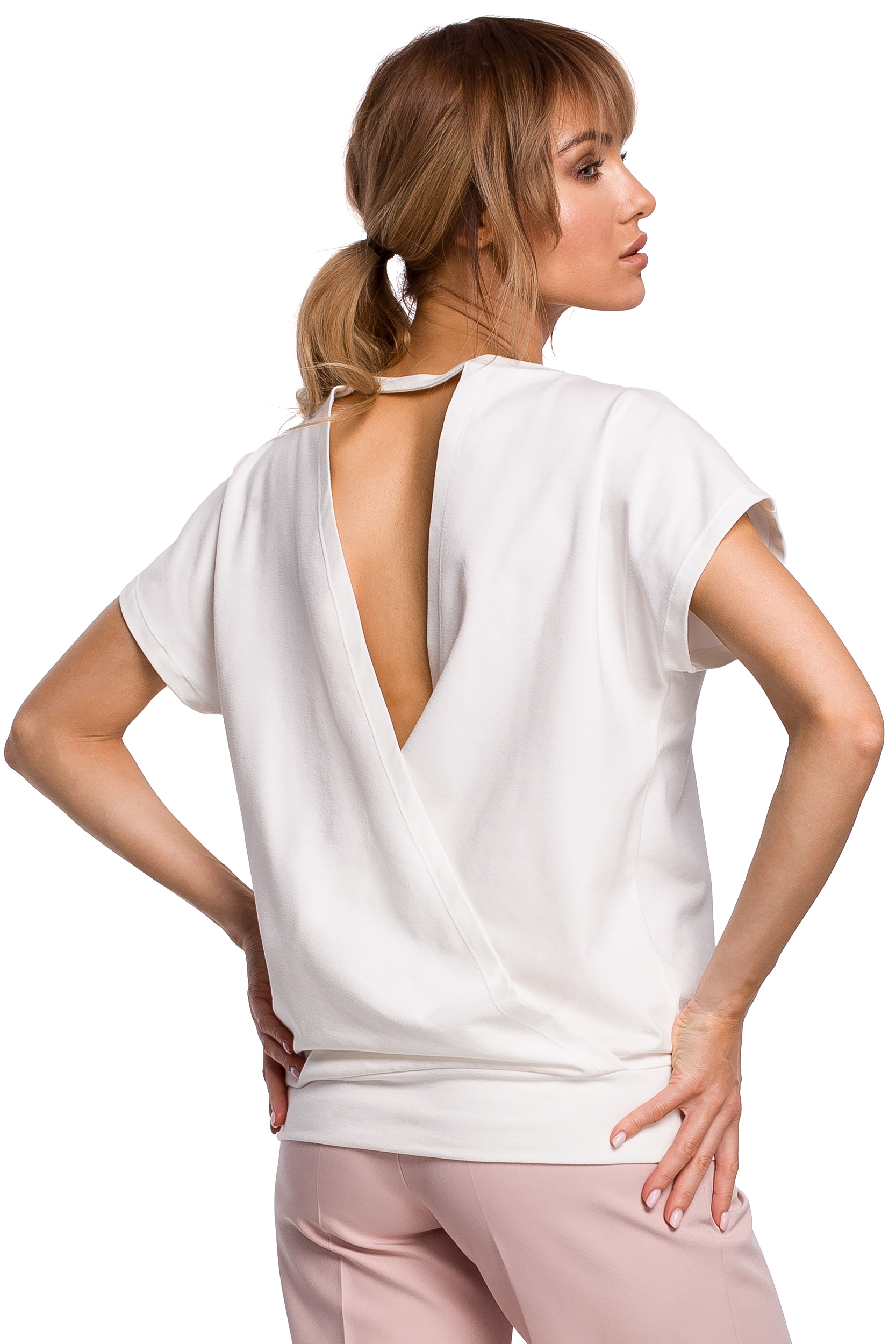 Vit T-shirt med öppen rygg