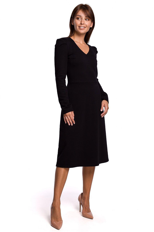 A-linje klänning med puffärm Svart
