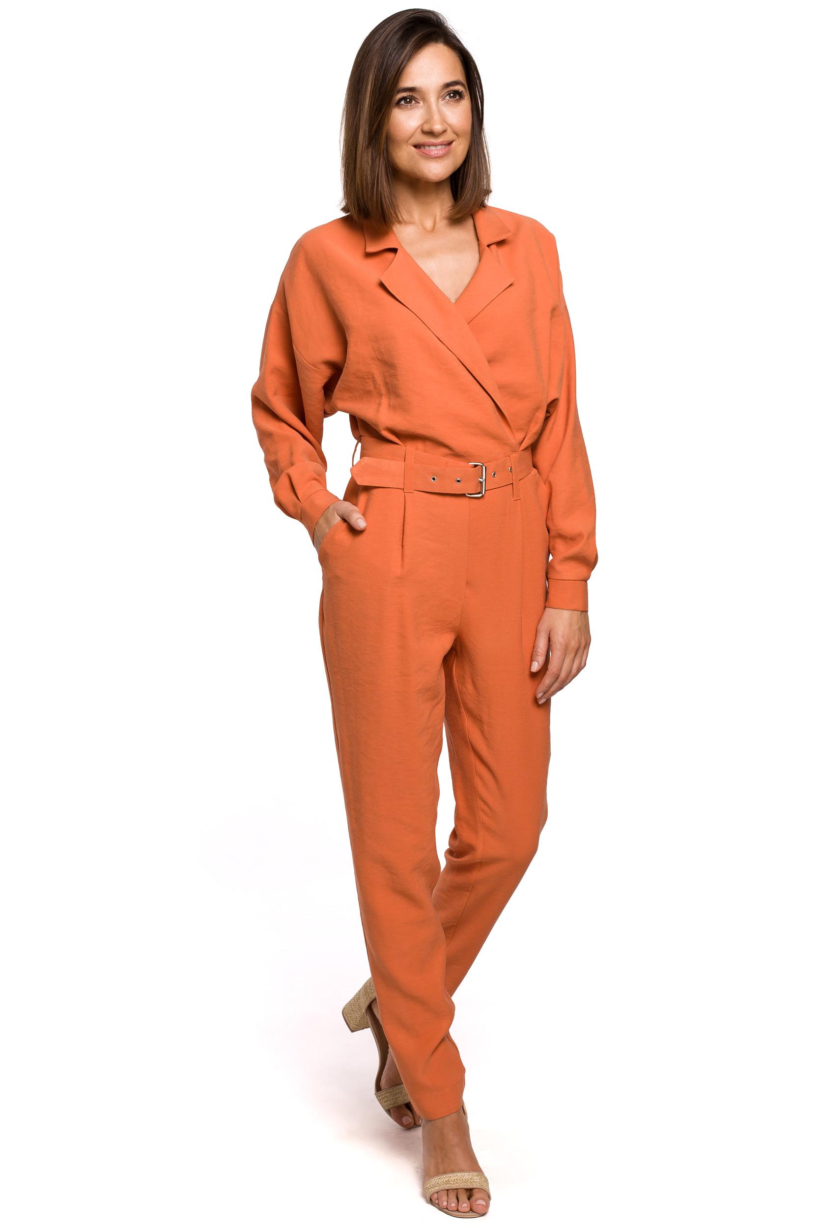 Byxdress med omlott front Orange
