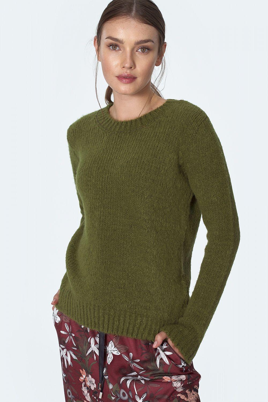Klassisk stickad tröja Grön