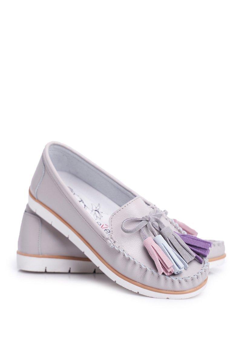 Dam Loafers Läder Grå