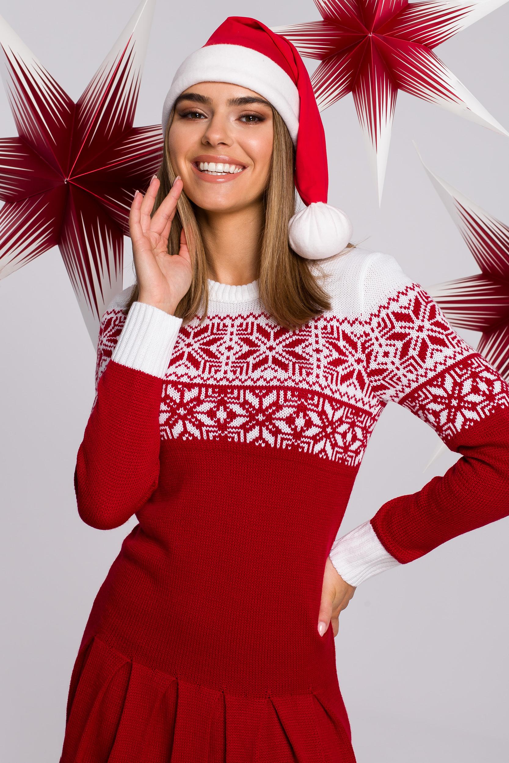 Stickad tröja-klänning Jul