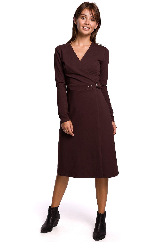 A-linje klänning med spänne bälte Brun