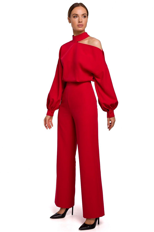 Jumpsuit med långa biskopsärm Röd