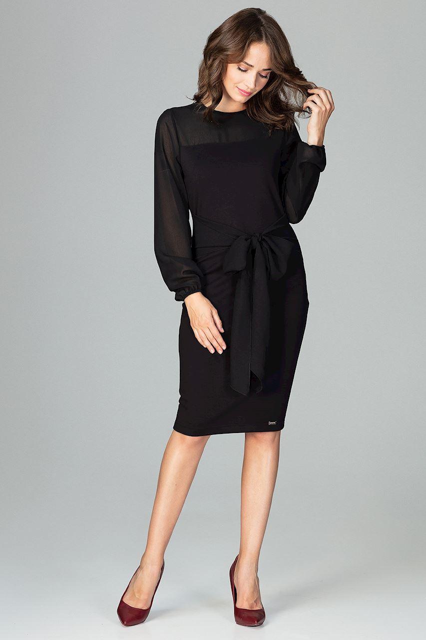 Elegant klänning med långa transparenta ärmar Svart