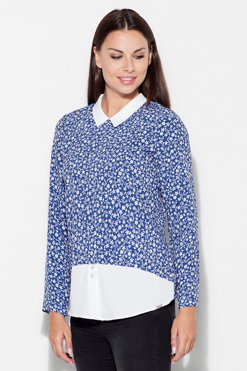 Mönstrad/blå tröja med krage