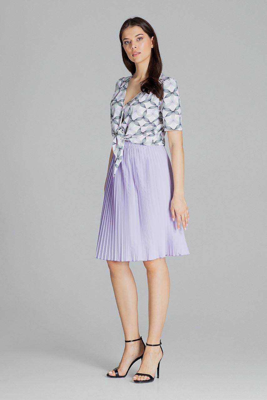 Veckad Midi kjol i Blå, Lila, Svart och Vit färg