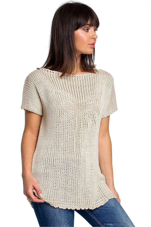 Stickat t-shirt - beige, grå, rosa, vit