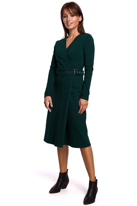 A-linje klänning med spänne bälte Grön