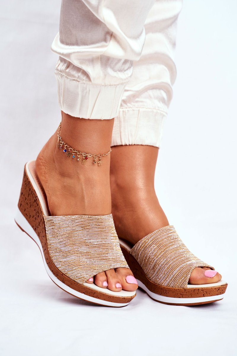 Dam Tofflor Wedge Beige