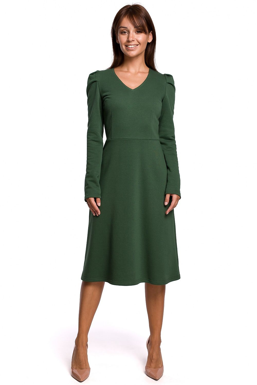 A-linje klänning med puffärm Grön