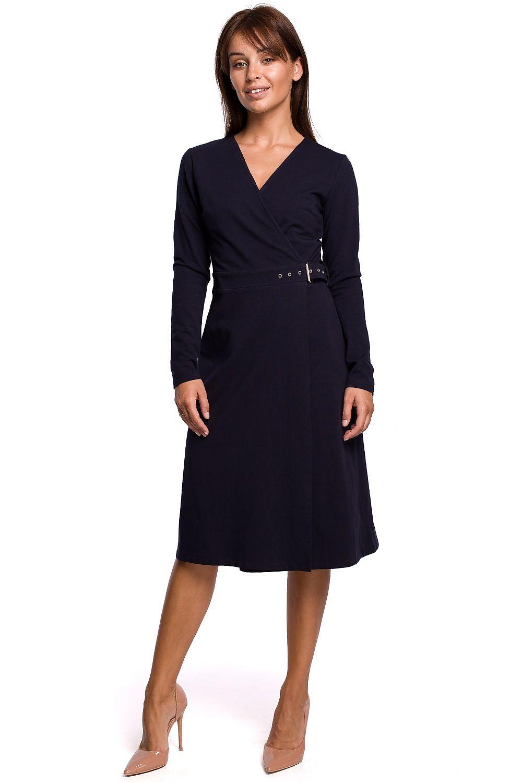 A-linje klänning med spänne bälte Navy