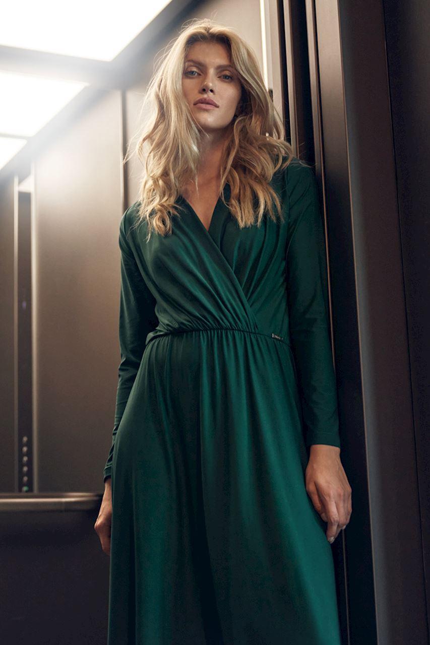 Grön maxiklänning med långa ärmar