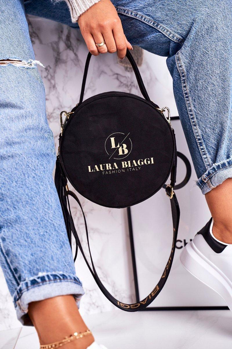 Rund Messenger-väska för kvinnor  LAURA BIAGGI Svart