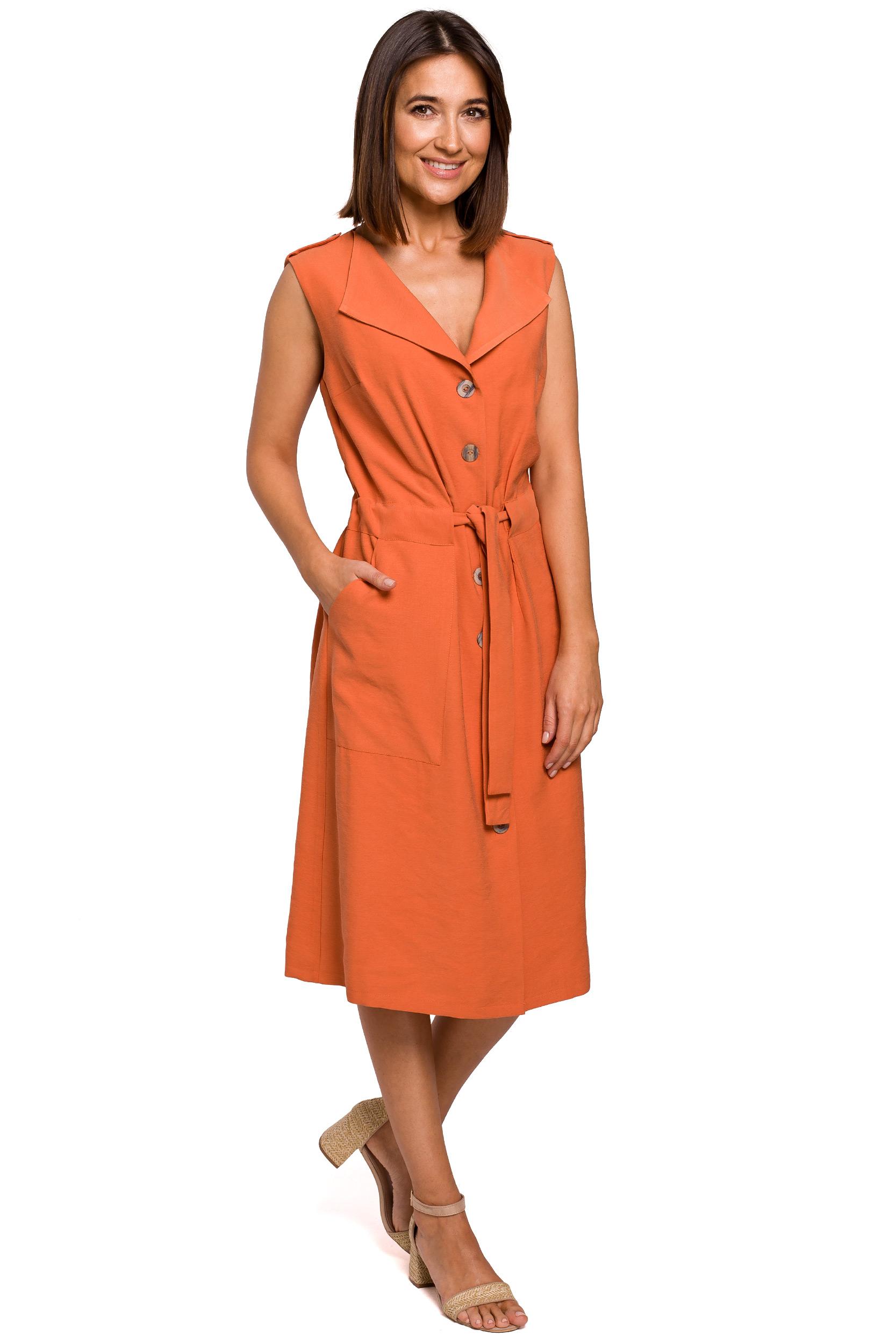 Skjortklänning med knappar Orange