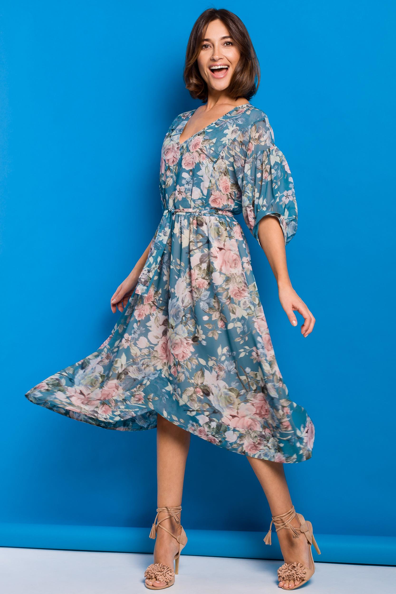 Blommig Chiffong Midi klänning Blå