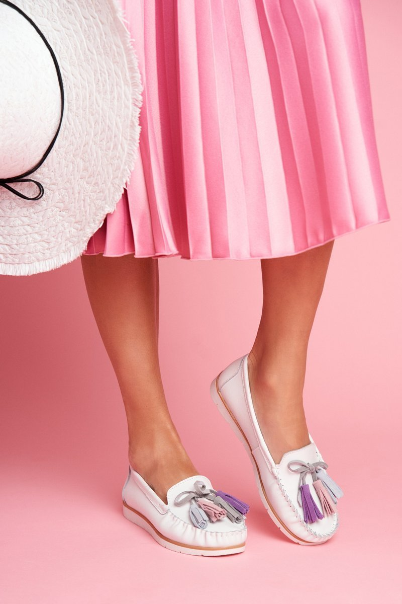 Dam Loafers Läder Vit