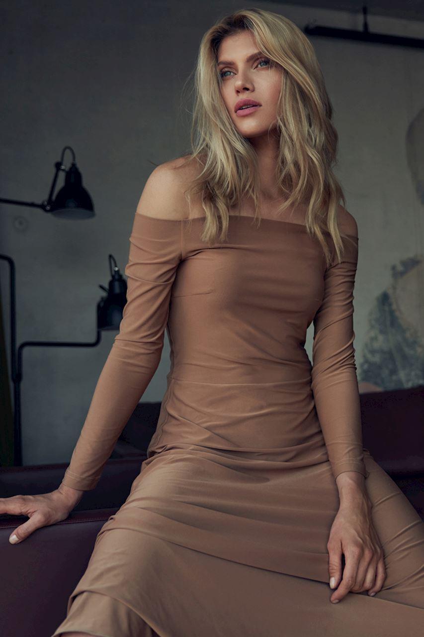 Beige Sensuell Maxiklänning med kalla axlar