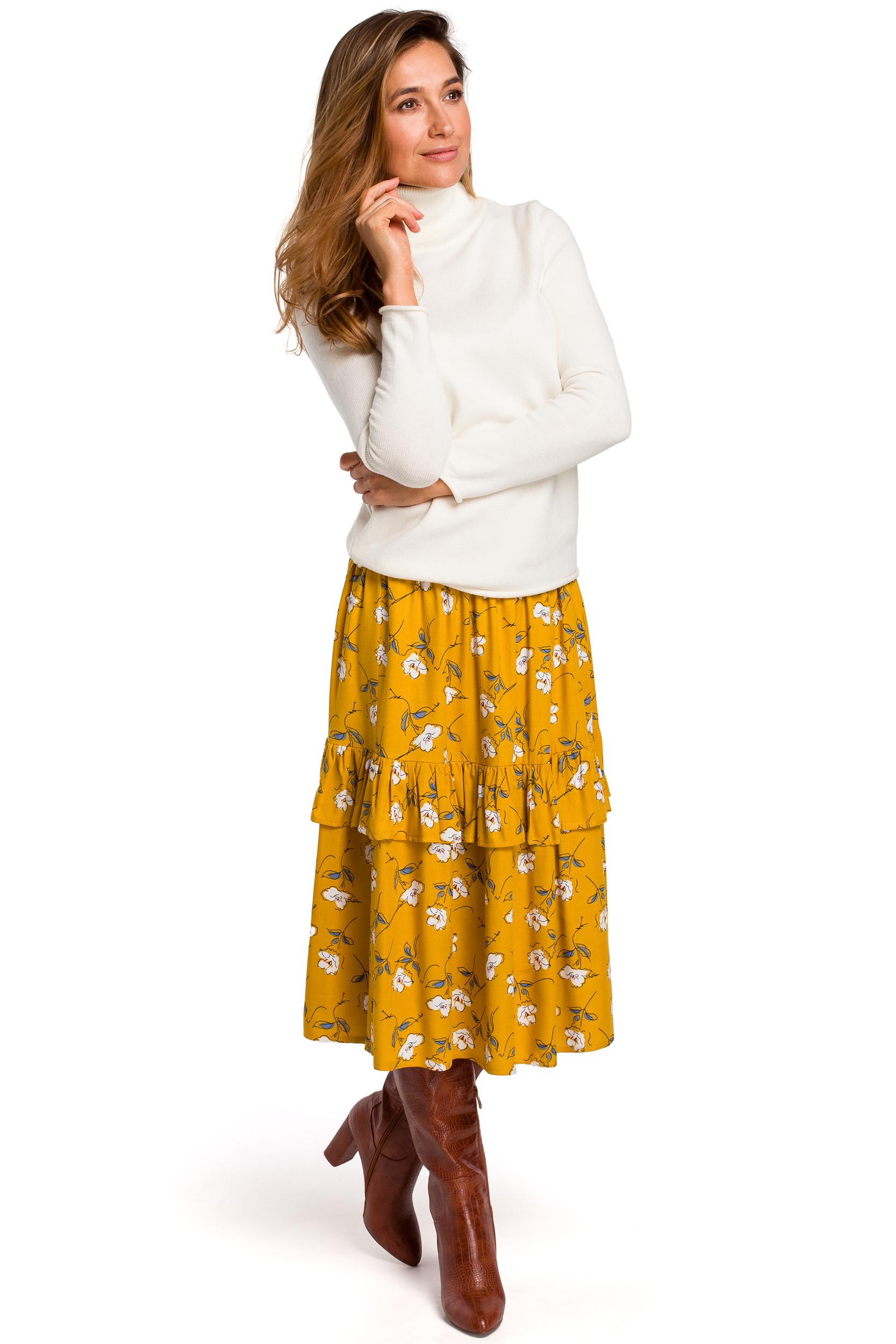 Blommig midi kjol Gul, Navy