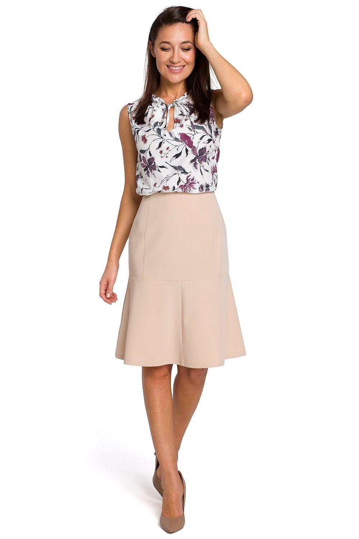 Utsvängd kjol i Ecru, Navy, Gul och Beige färg