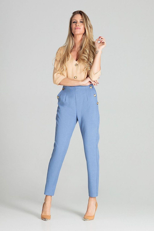 Högmidjade byxor Blå