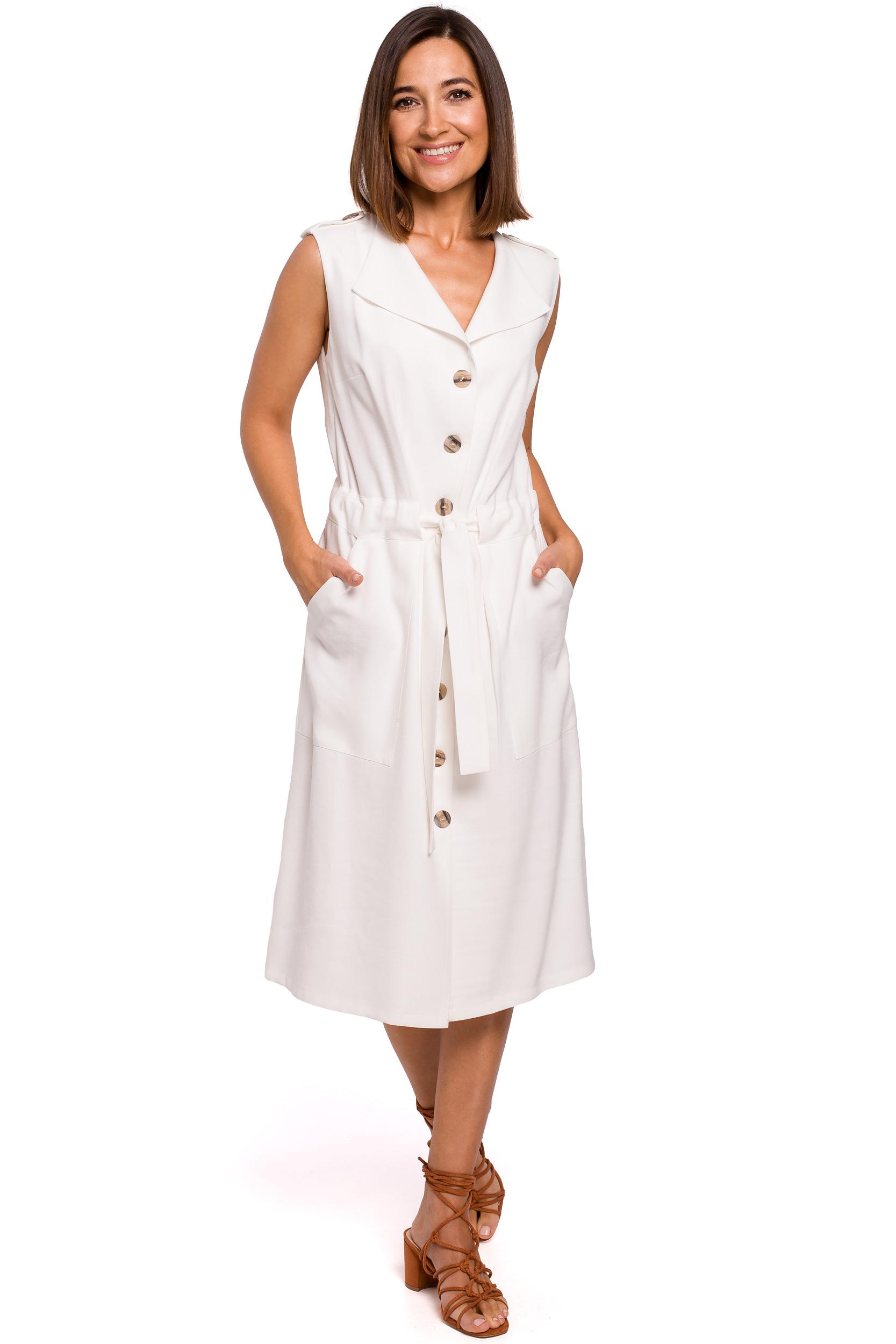 Skjortklänning med knappar Ecru