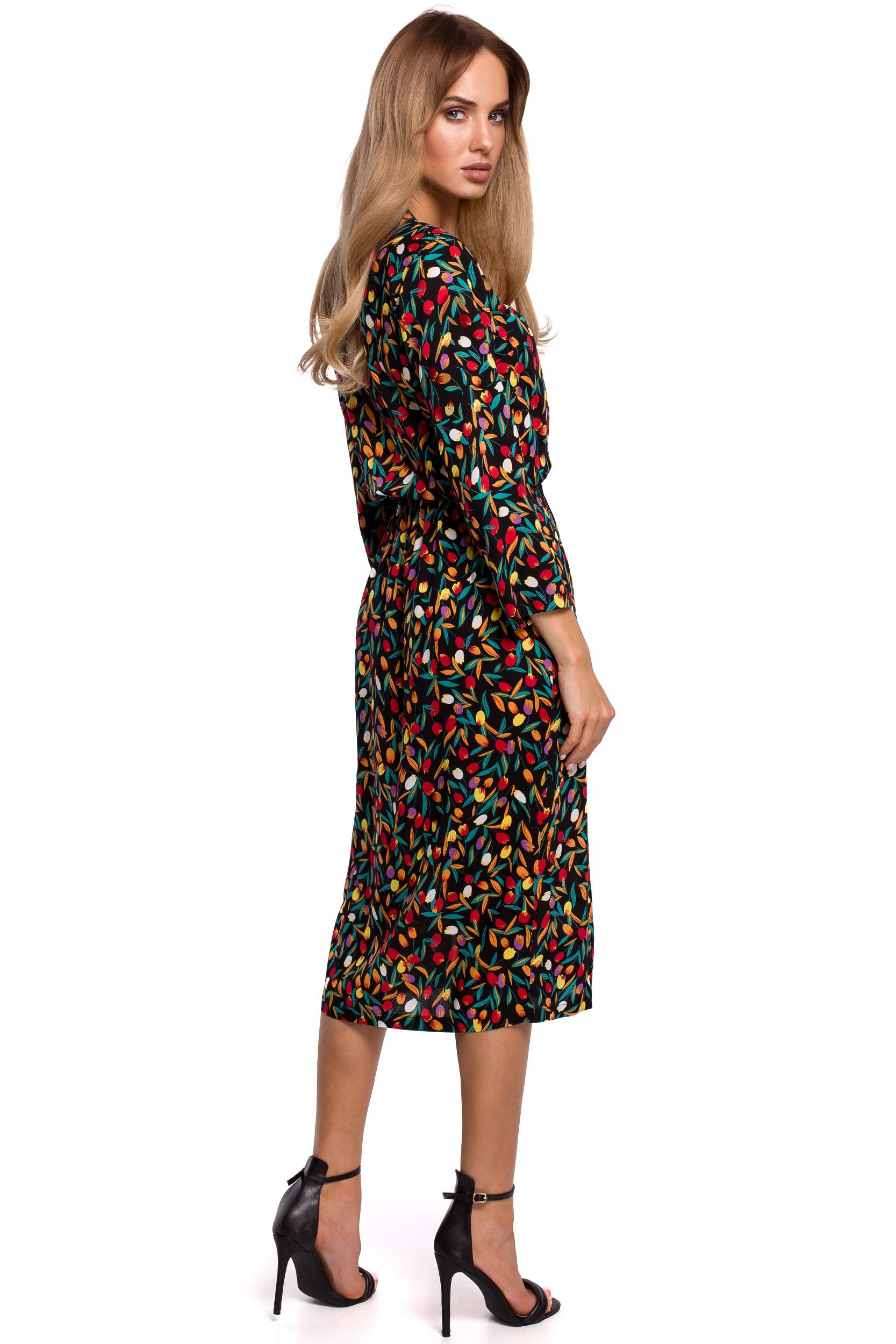 Blommig Midiklänning med 7/8 ärm
