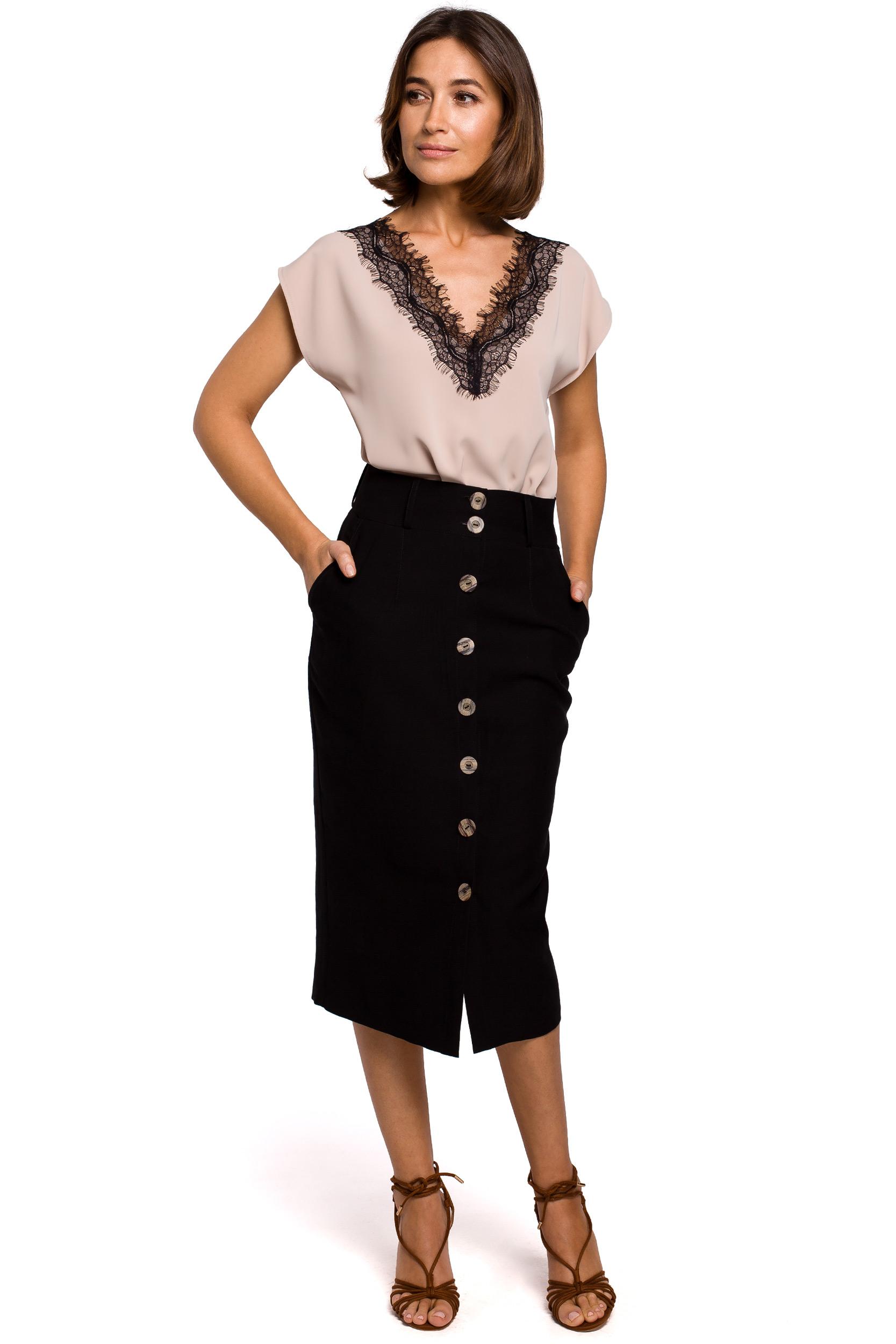 Kjol med knappar fram Svart