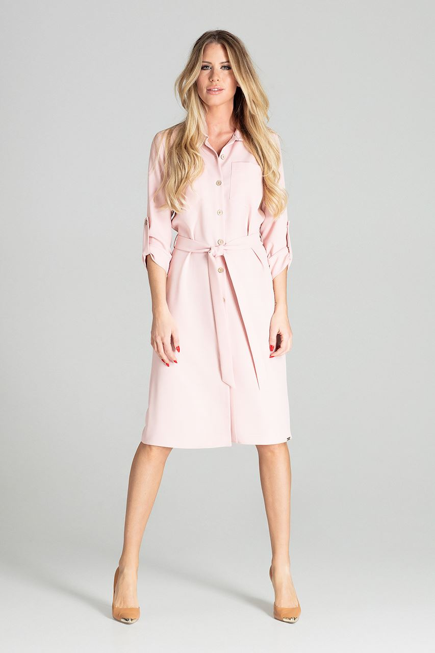 Långärmad Rosa Skjortklänning