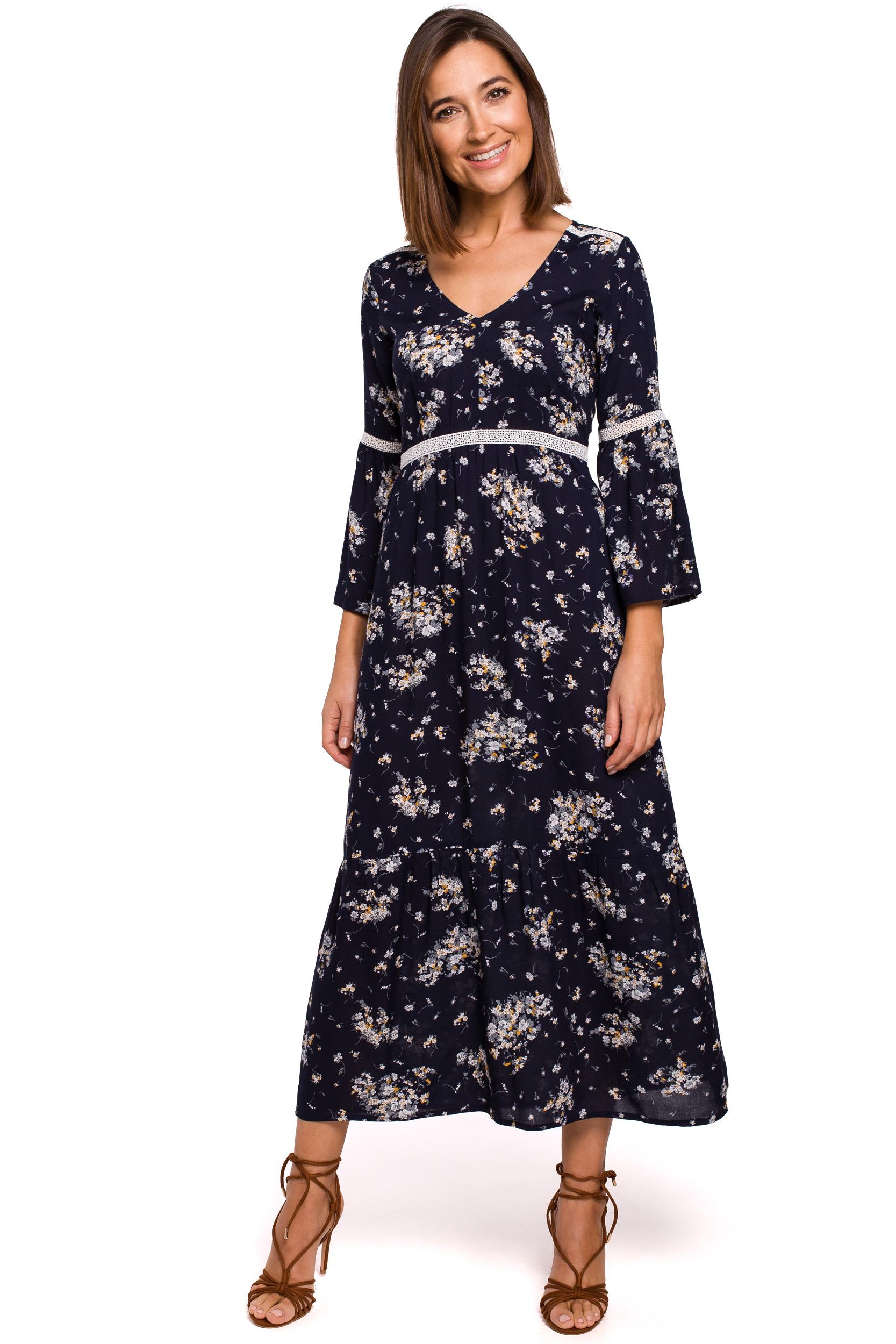 Blommig maxi-klänning med spets Svart