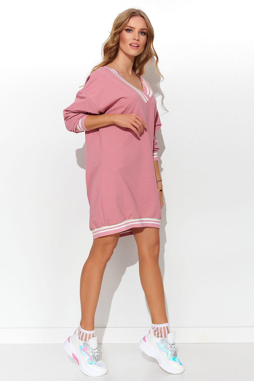 Sportig Klänning med dekorativt ribb - Rosa