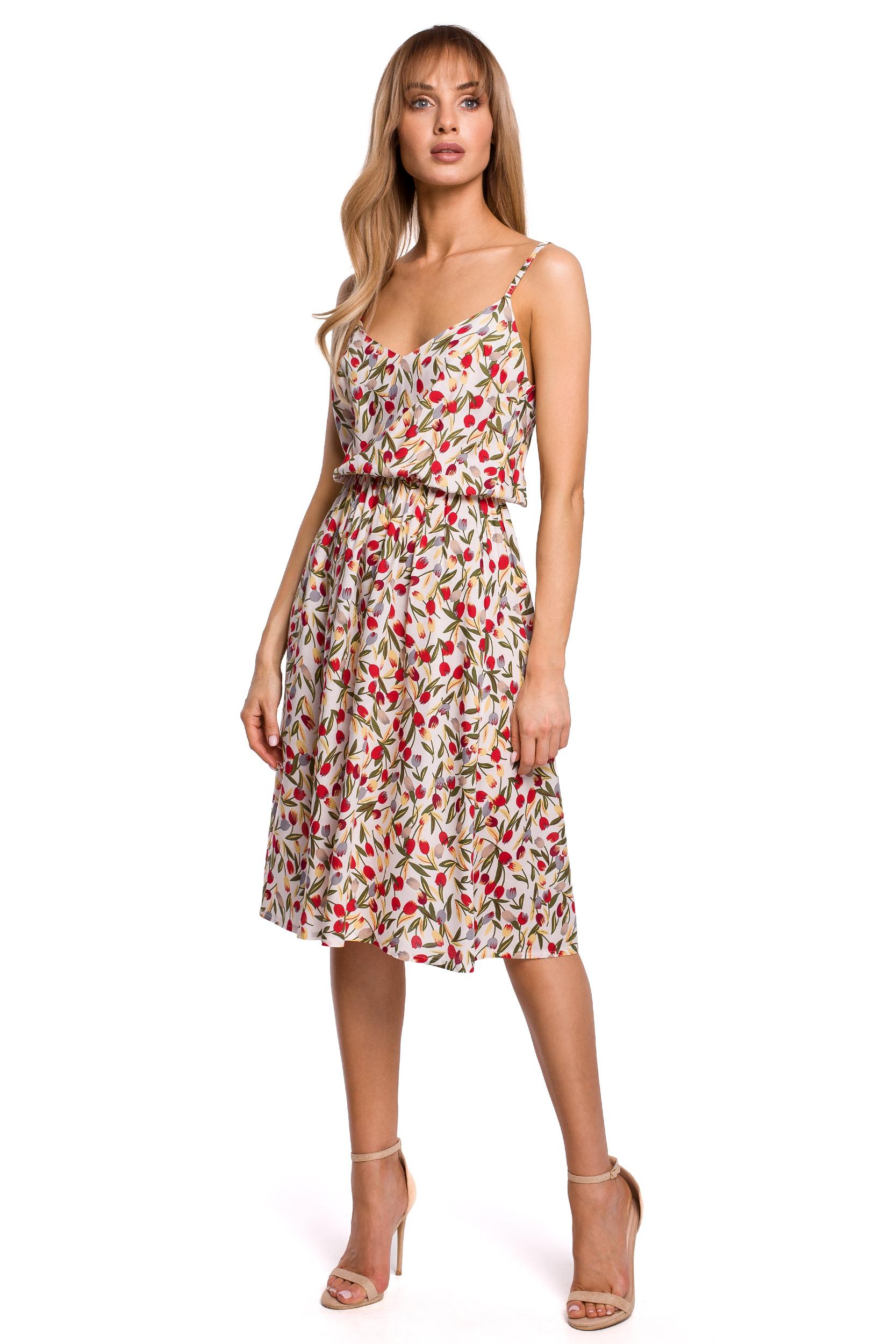 Blommig klänning med resår i midjan