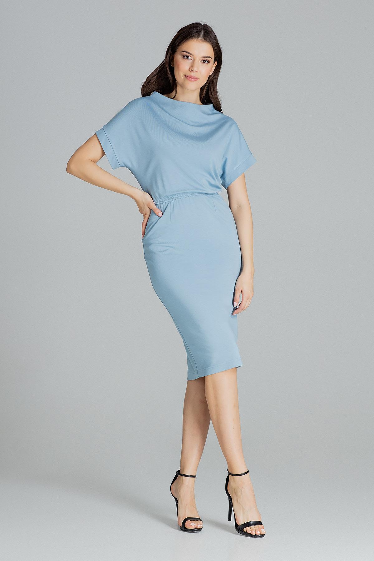 Blå kortärmad Midi-klänning