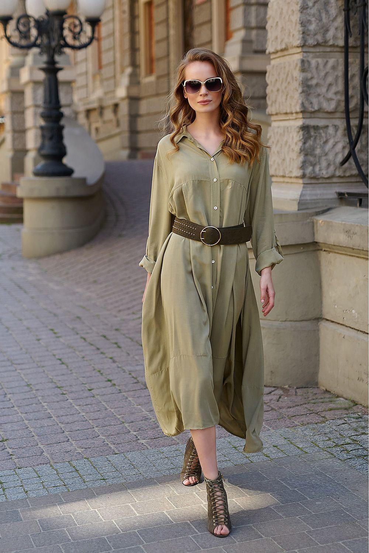 Viskos Skjortklänning Svart, Grön