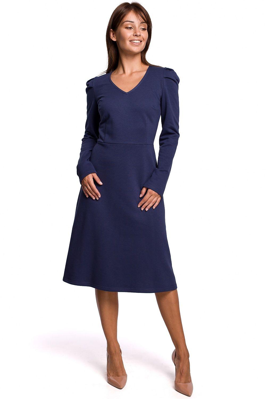A-linje klänning med puffärm Navy