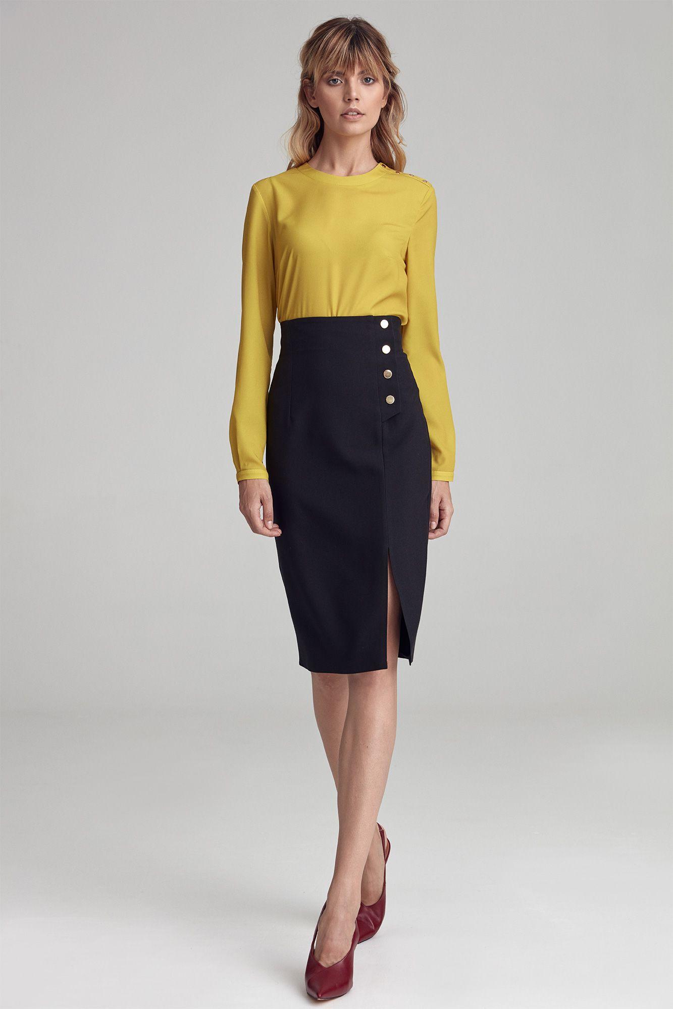 Svart högmidjad kjol