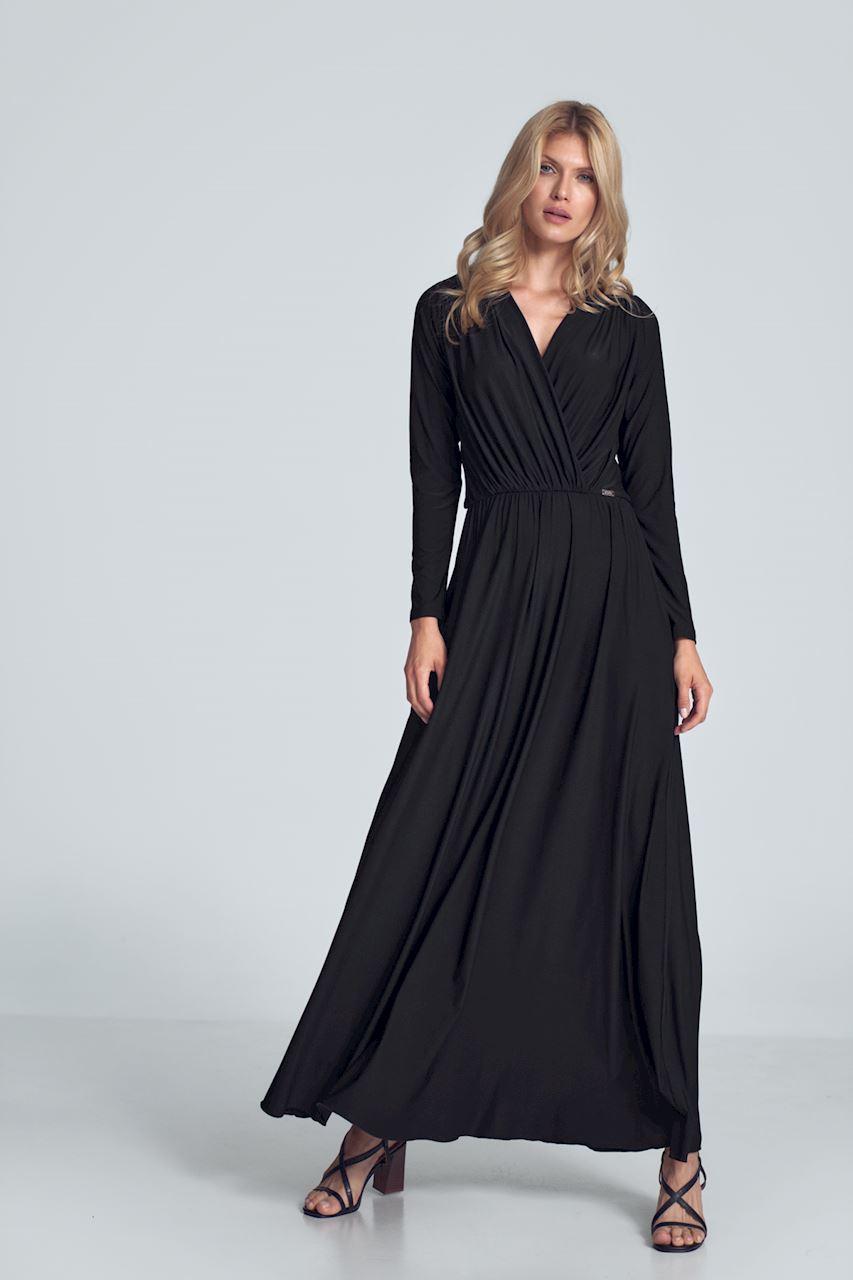 Svart maxiklänning med långa ärmar