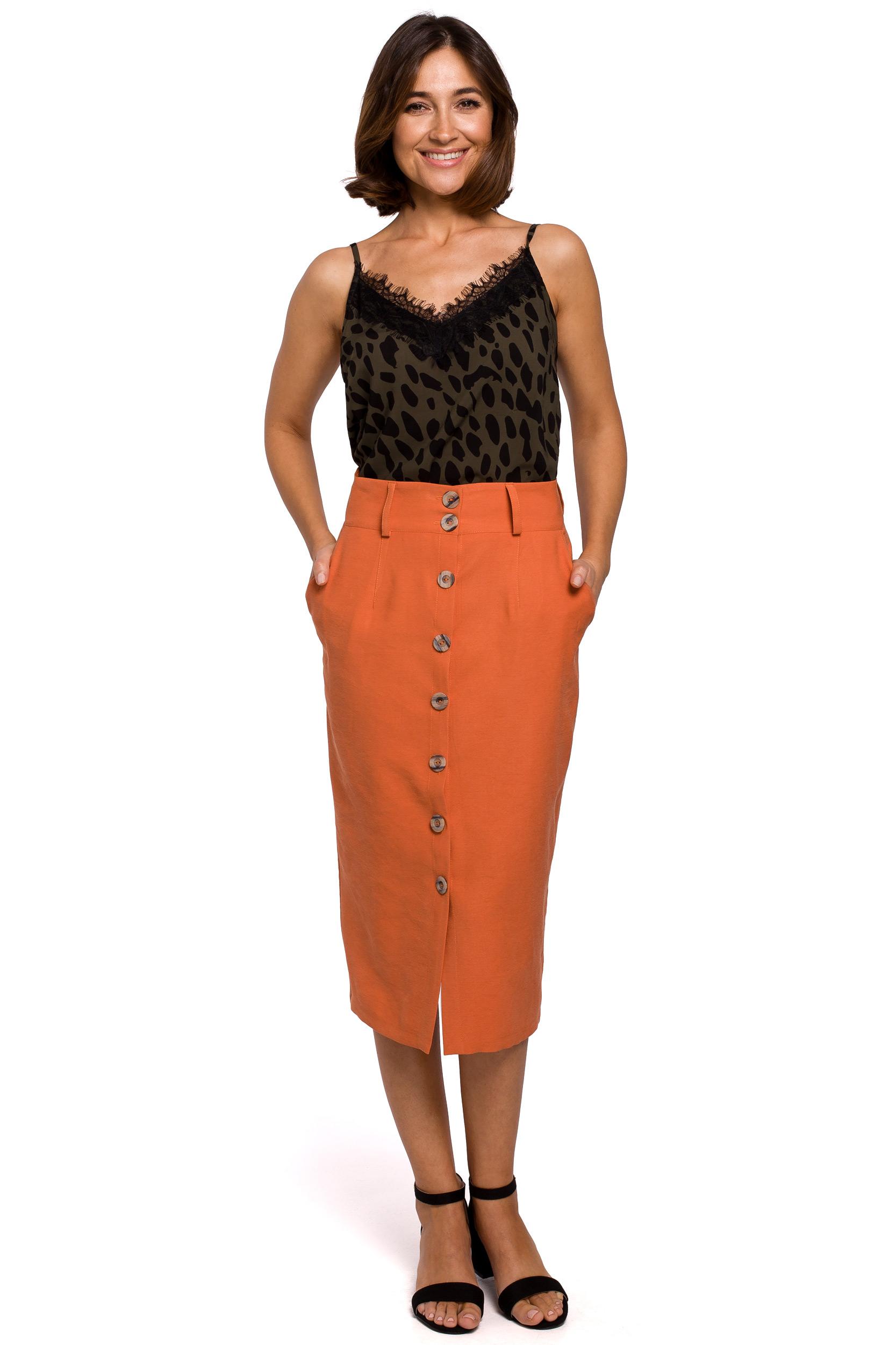Kjol med knappar fram Orange