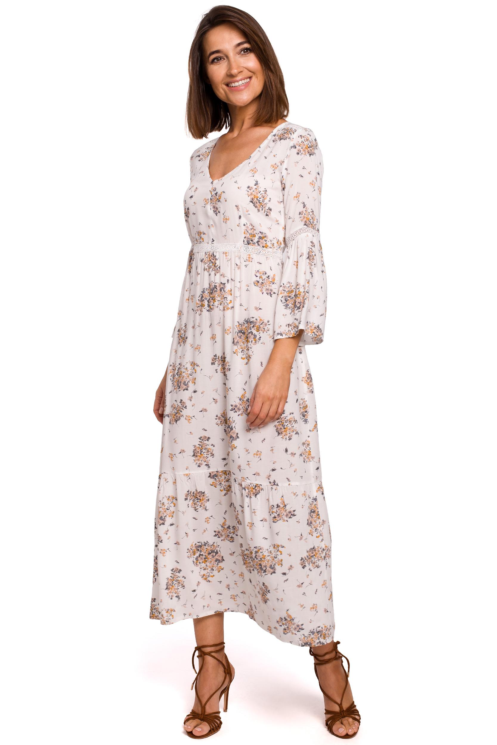 Blommig maxi-klänning med spets Vit