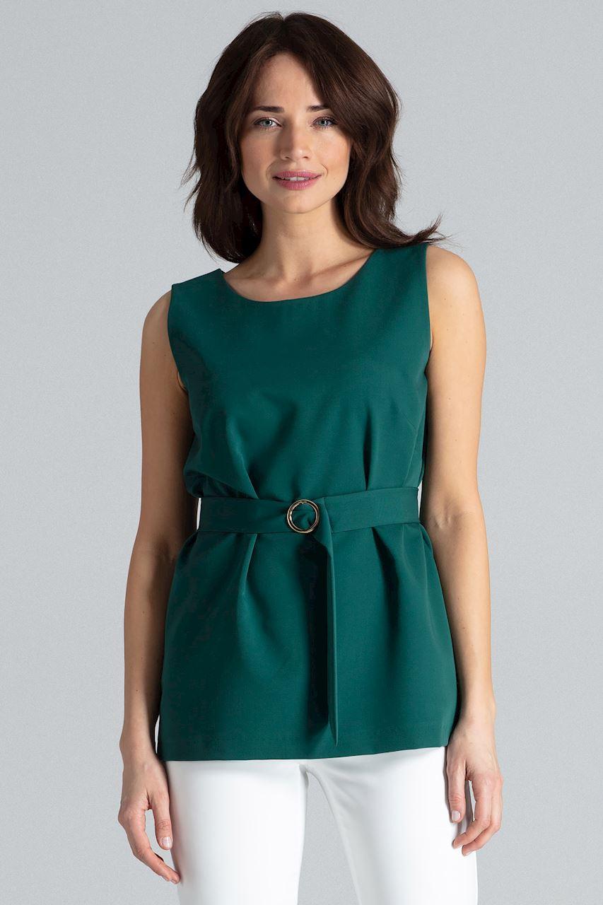 Blus med bälte Grön