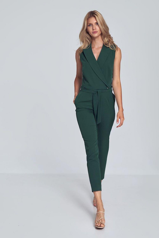 Grön jumpsuit med V-ringning och krage