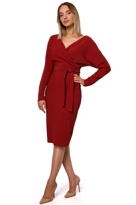 Klänning av ribbstickat tyg Röd