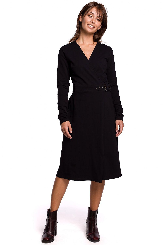 A-linje klänning med spänne bälte Svart