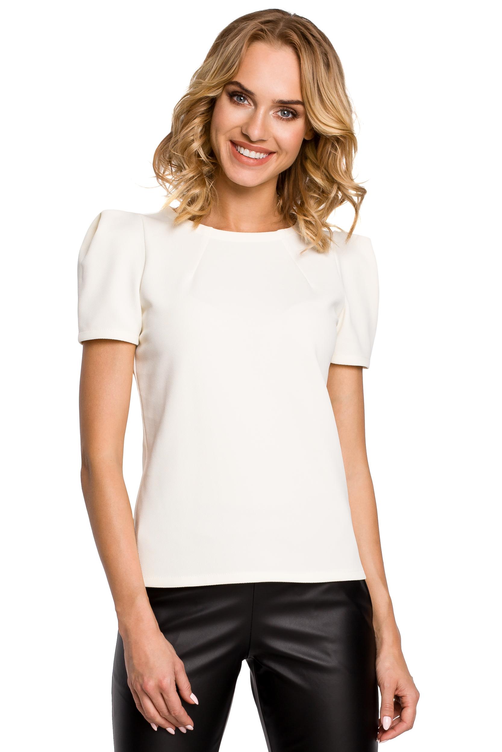 T-shirt med puff ärmar-Vit
