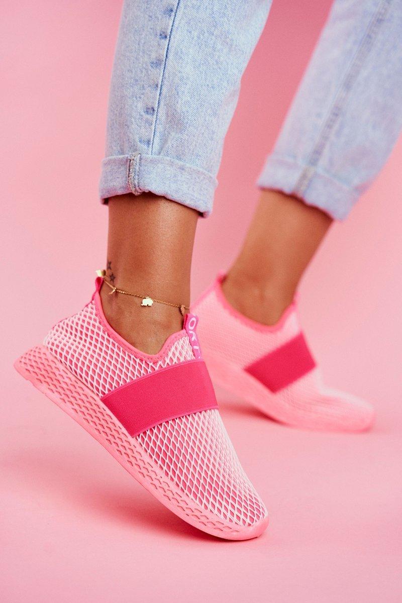 Dam Sportskor Slip On Neon Rosa