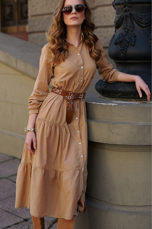 Maxi skjortklänning Beige, Svart