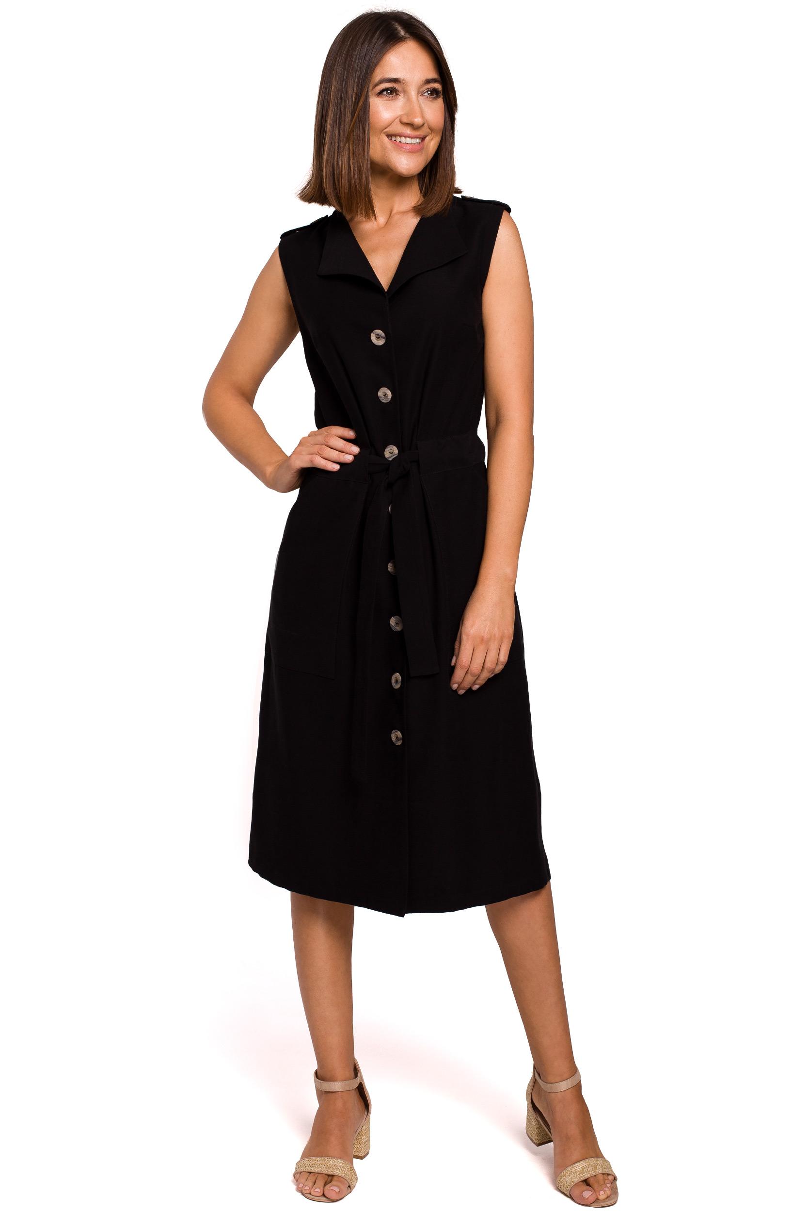 Skjortklänning med knappar Svart