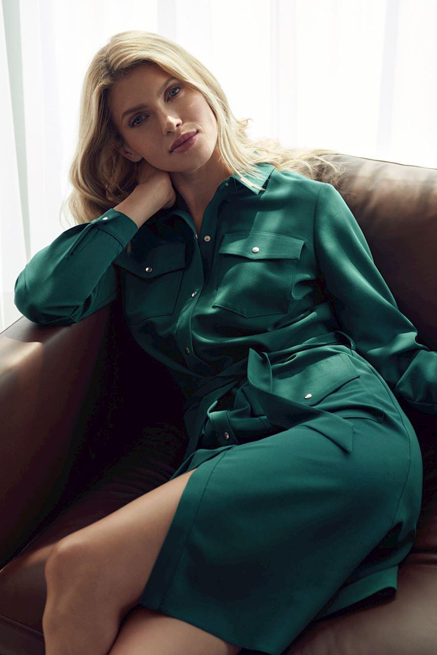 Grön midi Skjortklänning med lång ärm