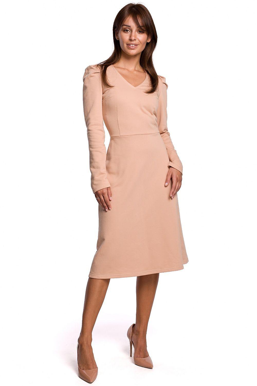 A-linje klänning med puffärmar Beige