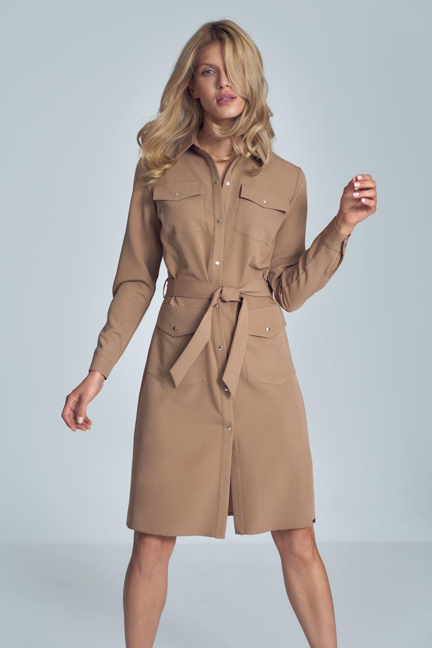 Brun midi skjortklänning med lång ärm